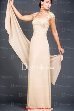 Vintage Champagne Capped Illusion Mother of the Bride Gown, Quality Unique Mother of the Bride Dresses - Dressale.com