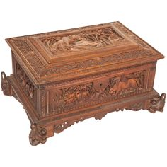 Mid 19th Century South Indian Sandalwood Jewelry Box with Elaborate Carving at 1stdibs