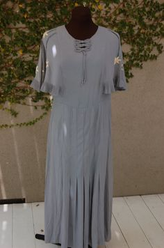 Lovely 1930s Rayon Crepe Steel Blue Cocktail Dress by Maudelynn