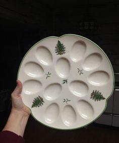 Spode Christmas Tree Green Trim Deviled Egg Plate New with Price Tag No Box | eBay