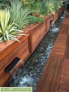 narrow water feature fountain for garden