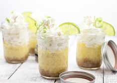 Classic Southern Key Lime Pie recipe. Individual servings in jars. Great for parties. Use key lime or regular limes. Cooked with graham cracker crust.