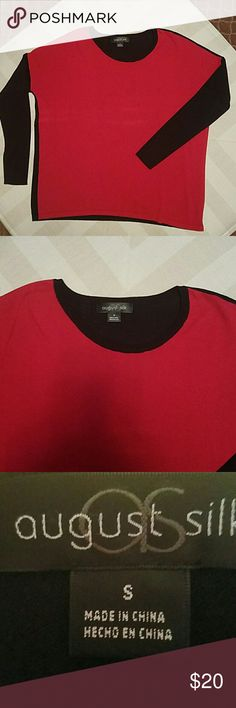 AUGUST SILK SWEATER AUGUST SILK RED AND BLACK  CREW NECK SWEATER  DOLMAN SLEEVES  SIZE SMALL/ WILL DEFFENTLY FIT BIGGER BUST 22.5 INCHES LAYING FLAT  ARM 15.5 INCHES  LENGTH 25 INCHES  EXCELLENT  CONDITION  JUST GOT BACK FROM THE DRY CLEANERS  60%COTTON  40% VISCOSE august silk Sweaters Crew & Scoop Necks
