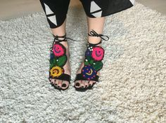Embroidery sandals , Romanian inspiration