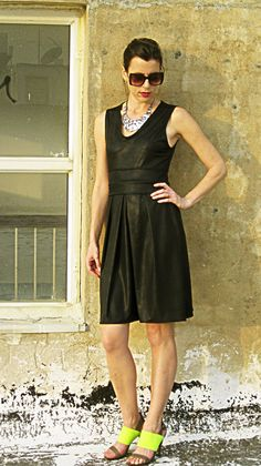 Faux Leather Pleated Dress Black Leather Dress Plus by tamarziv, $120.00