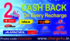 Use The Promocode:C4UCASH And Get 2% Cashback On Every Recharge. http://www.charge4u.in chargeforu.blogspot.com #Online mobile recharge #Charge #Mobile #Datacard #Dth