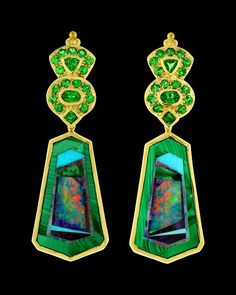 Paula Crevoshay Intarsia and Tsavorite Earrings ~    52.07 carats of Sugilite, Malachite, and Opal Intarsia are the centerpiece adorned with 2.83 carats of brilliant green Tsavorite Garnets in this pair of one of a kind earrings. Set in 18k yellow gold.