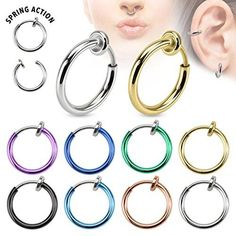 Non Piercing Spring Hoops Jewelry No Holes Clip On One Piece lip, Ears, Nose