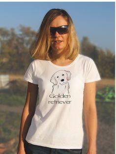 T-shirt ręcznie malowany z psem rasy Golden retriever z napisem jaki tylko chcesz