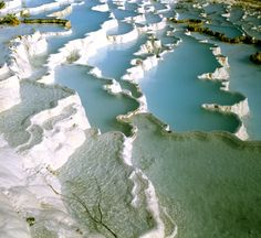 Salt flakes with blue lakes