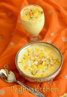 Easy Mango Recipes-Indian Mango Recipes-(Ripe and Raw Mango) - Padhuskitchen Mango Recipes Raw, Mango Recipes Indian, Indian Dessert Recipes, Indian Sweets, Mango Desserts, Hot Desserts, Plated Desserts, Phirni Recipe, Indian Dishes