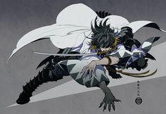 1no-wone: 刀剣乱舞:長曽祢虎徹 - sekigan Fantasy Character Design, Character Design Inspiration, Character Concept, Character Art, Concept Art, Arte Ninja, Ninja Art, Art Poses, Drawing Poses