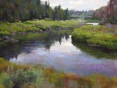 Crooked River by artist Phil Bates, pastel painting