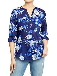 Womens Floral-Printed Blouses ...would be cute for work with a coral cardi, gray pants and gray belt