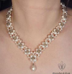 Pearl crystal beaded necklace. Craft ideas from LC.Pandahall.com