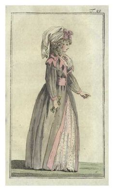 Journal des Luxus, 1788. What an unusual and charming outfit. Doesnt she look comfortable?