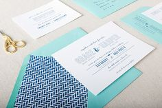 Lucy Wedding Invitation  in Teal and Navy - SAMPLE - Modern Typography Wedding Invitation - Flat Print or Letterpress Invitation on Etsy, $5.00