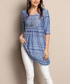 Another great find on #zulily! Dark Blue Geo Empire-Waist Tunic Dress - Plus #zulilyfinds