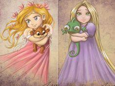 Princesas Disney Crianças - Giselle and Rapunzel Disney E Dreamworks, Disney Movies, Disney Pixar, Disney Characters, Kawaii Disney, Baby Disney, Rapunzel, Disney Fan Art, Disney Dream