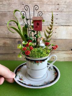 Miniature fairy garden, teacup garden, fairy miniatures by TheBraceletHouse on Etsy https://www.etsy.com/listing/595442658/miniature-fairy-garden-teacup-garden