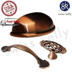 NEW ANTIQUE COPPER KITCHEN DRAWER CABINET CUP PULL HANDLE KNOB HARDWARE