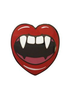 BITE ME!! Fall in love with this pin by Lil Bullies! Add to a long leather jacketfor a vamp-tastic look! -1 Inch Hard Enamel Lapel Pin -Comfortable dual rubber
