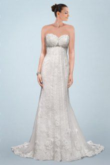 Superb Sweetheart Neckline A-line Wedding Dress with Lace Overlay and Beading Detail | Bridalpure.com