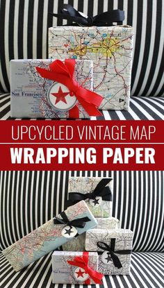 DIY Gift Wrapping Ideas - How To Wrap A Present - Tutorials, Cool Ideas and Instructions   Cute Gift Wrap Ideas for Christmas, Birthdays and Holidays   Tips for Bows and Creative Wrapping Papers    Vintage-Map-Wrapping-Paper    http://diyjoy.com/how-to-wrap-a-gift-wrapping-ideas