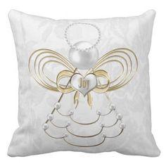 Pearls and Gold - Metallic Christmas Angel of Joy Throw Pillow