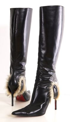 CHRISTIAN LOUBOUTIN BOOTS.  What do you call the furry part?  These are a little...