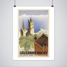 Switzerland Poster - Vintage Lausanne Travel Print