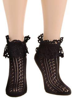 Steampunk Tights  & Socks Bygone Eras Victorian Lace Ankle Socks in Noir $11.00 AT vintagedancer.com