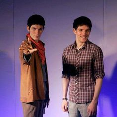 """Merlin wax model, that would be just soooo creepy _ Jack Harkness - """"I can't tell you what i'm thinking right now. Colin Morgan, Cry A River, Merlin Cast, Jack Harkness, Merlin And Arthur, Bradley James, Madame Tussauds, Totally Awesome, Best Tv Shows"""