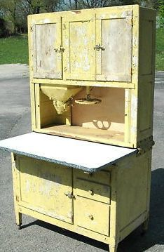 Antique 1920s Hoosier Cabinet with Flour Sifter Porcelain Top