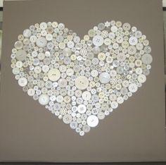DIY, knoopjes op canvas. Canvas eerst verven en dan knoopjes in jouw kleur erop plakken.
