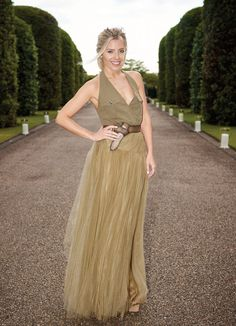 Molly King wears a RL khaki gown for Ralph Lauren and Vogue Wimbledon Summer Cocktail Party