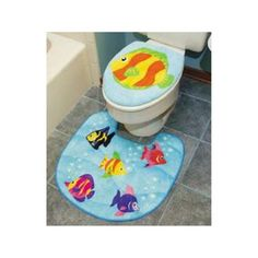 Kids Tropical Fish Bathroom Decor This Would Be Cute With - Cute bath rugs for bathroom decorating ideas