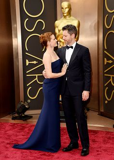 Amy Adams admires her fiancé Darren Le Gallo outside the Academy Awards at LA's Dolby Theatre