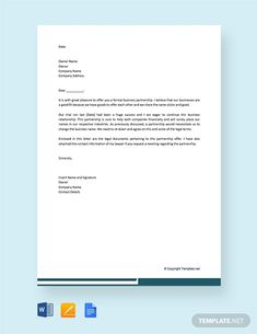 FREE Formal Proposal Letter for Partnership Template - Word | Google Docs | Apple Pages | Template.net