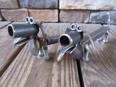 Railroad Spike Dachshunds-Metal Art-Scrap Metal Weenie Dog-Pipe-Pets-Animals-Welded Art-Handmade-USA by MetalDisorder on Etsy