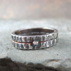 Raw Uncut Rough Diamond Wedding Band   Silver by ASecondTime, $225.00