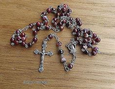Rose Red Agate Gemstone Rosary, Five Decade, Tibetan silver  #OR1057