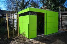 #gartenhaus atgart_drei - München lime green modern garden shed #Gartenhaus #HPL #Gerätehaus