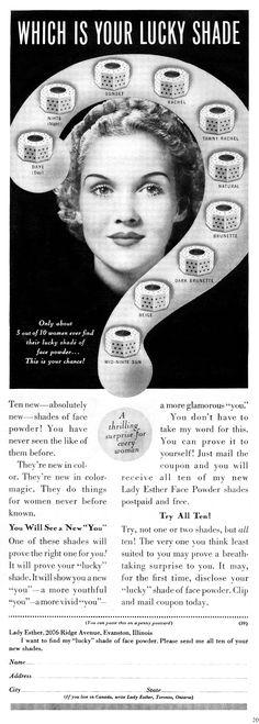Vintage 1937 Lady Esther face powder ad