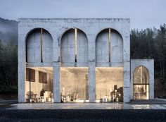 AZL architects completes kiln building in china with concrete arches and brick Arch Building, Building Exterior, Building Facade, Facade Design, Exterior Design, In China, Concrete Formwork, Arch Architecture, Chinese Architecture