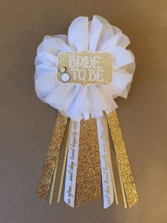 Bride To Be Flower Ribbon Pin Gold White glam Corsage by afalasca