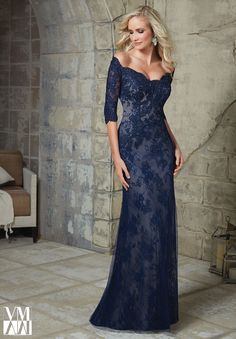 71231 Evening Gowns / Dresses Beaded Appliques on Net Over Chantilly Lace