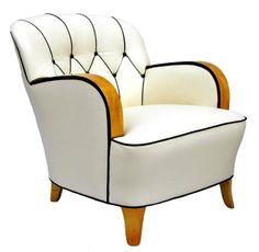 Pair of Birchwood Art Deco Armchairs