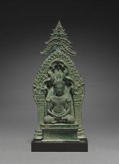 Altarpiece with Buddha Enthroned Buddha Sculpture, Sculpture Art, Worship Images, Cambodian Art, 3d Figures, Cleveland Museum Of Art, Thai Art, Religious Architecture, Buddhist Art