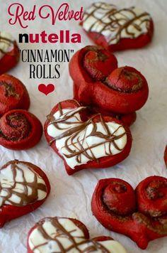 red velvet heart cinnamon rolls